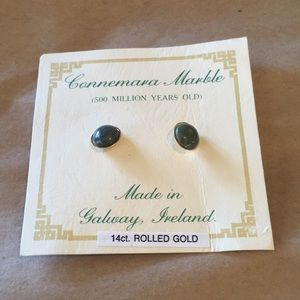 Jewelry - NWOT Green marble 14ct Rolled Gold earrings